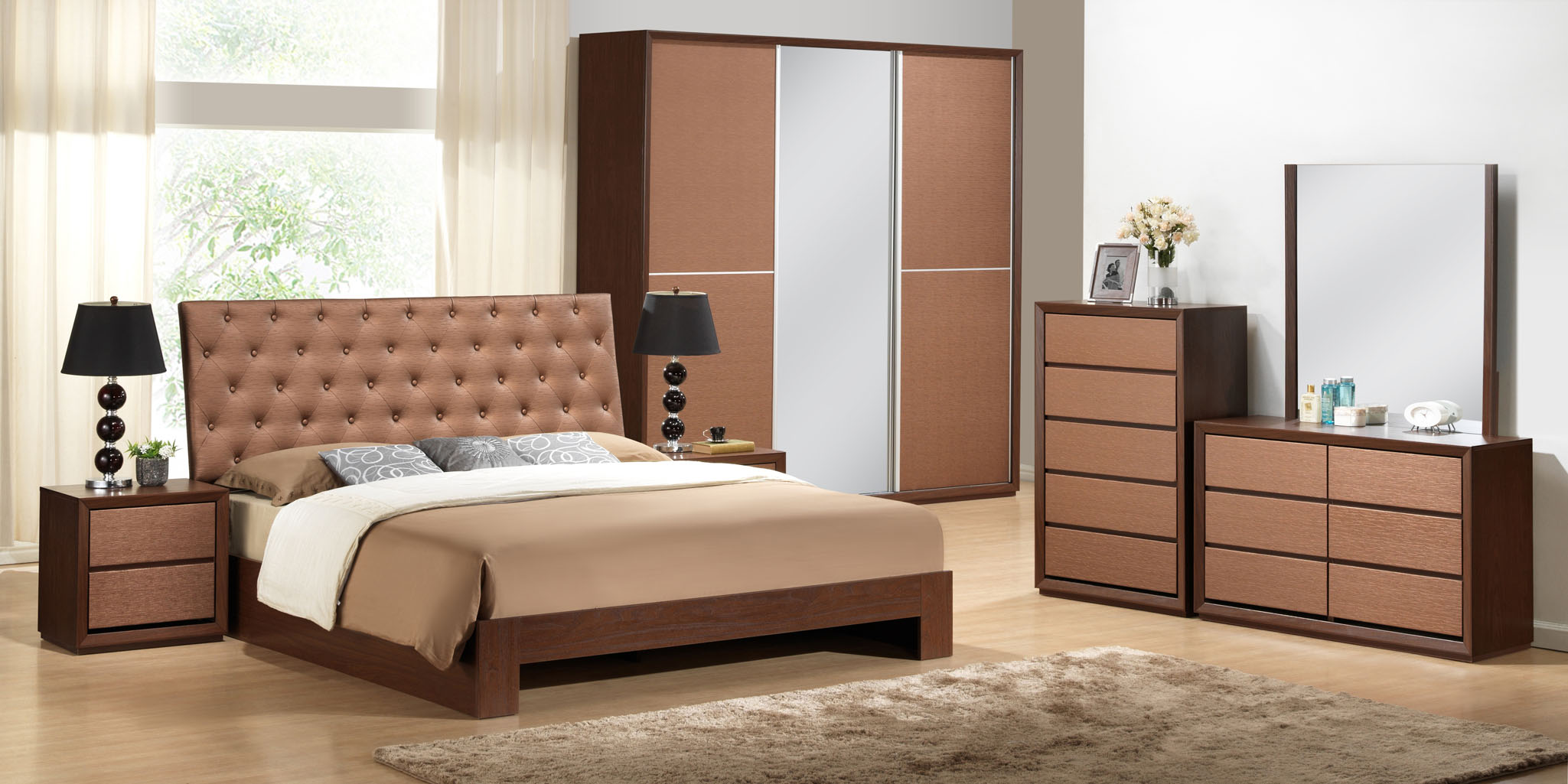 Quincy bedroom set fair production sdn bhd for Three room set design